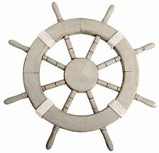 45Cm Nautical Home Accessory Seashore Wooden Ships Wheel Decoration