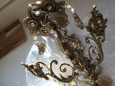 4 BRASS AND CRYSTAL WALL SCONCE