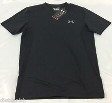 Under Armour MEN'S Athletic Shirt Fitted Heat Gear Black Mesh Size S