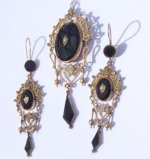 Antique Victorian Gold Filled Black Onyx Seed Pearl Demi Parure Dangle Earrings