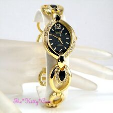 OMAX Ladies Gold Pltd Black Enamel Seiko Movt Watch w/ Swarovski Crystals JE0572
