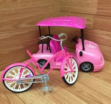 "2007 Mattel Barbie's Toy Golf Car and Bicycle Pink ""Fabulous"""