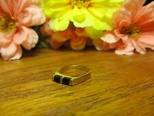 Womens Girls Black Onyx Fashion Ring Sz 6