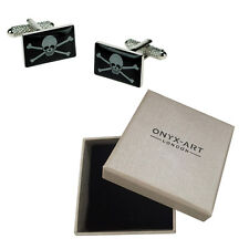 Da Uomo Jolly Roger Flag Pirata Gemelli & Box Regalo con Onyx Art