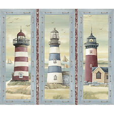 "36"" Fabric Panel - Quilting Treasures Seaside Nautical Lighthouse Block Blue"