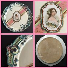 "Antique French HP Porcelain Portrait Plate - 12.5"" - Duchess of Montpensier -19t"