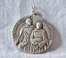 Vintage Sterling ST RAPHAEL Pray for Us & IMMACULATE HEART OF MARY 2Sided Medal