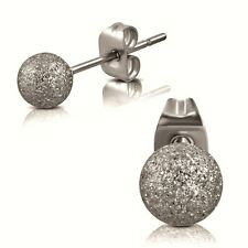 316L Surgical Stainless Steel Frosted Dust Ball Studs Earrings 5mm