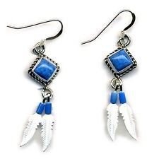 Genuine Lapis Lasuli Sterling Silver Feather Dangle Earrings Beaded Native