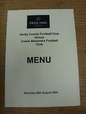 28/08/2004 Derby County v Crewe Alexandra - Menu, Four Pages. Item in very good