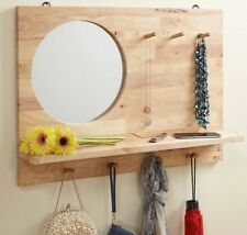 Wall Mirror with Shelf and Hooks Rubber Wood Entryway Coat Rack Organizer New