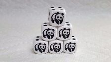 DICE -16mm  6/SET- OP WHITE w/BLACK/WHITE PANDA AS #1 & BLACK PIPS FROM KOPLOW