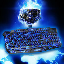 3 Colors USB LED Backlight Multimedia Wired PC Gaming Keyboard Crack Illuminated