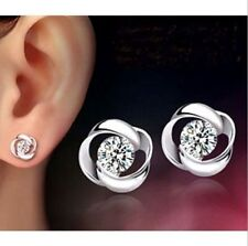 Womens 925 Sterling Silver Plated Shiny Crystal Rhinestone Ear Stud Earrings