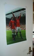 Eric Cantona David Beckham Celebrating Man Utd Poster