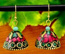 Nepal Banjara Coral & Turquoise Brass Tibetan Designer Fashion Earrings BTE604
