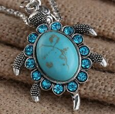 personality New Fancy Tibet silver lucky turtle natural turquoise necklace YY35