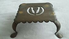 Antique Bronze Kettle Stand. 4 Legs. Crest.
