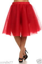 PLUS SIZE Sexy TuTu Tulle A-Line Pleated Long Tea Skirt (RED) sz 1X