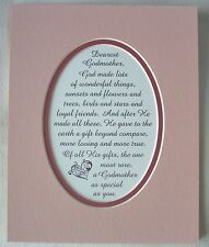 GODMOTHER Gift GOD MADE Loving True BEYOND COMPARE Wonderful verses poems plaque