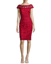 NWOT Tadashi Shoji Embroidered Lace Sheath Dress / Red / Size 8