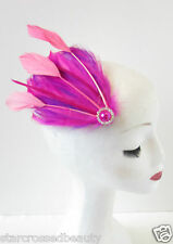 Hot Pink Purple Peach Feather Fascinator Headpiece Vintage Hair Clip Races O79