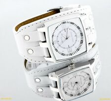 NEW Designer Charles Delon Men Japanese Quartz White Leather  Watch Fashion