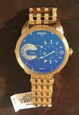 DIESEL DZ7341 DUAL TIME MINI DADDY 46MM GOLDTONE STAINLESS WATCH, NWT