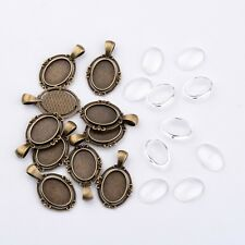 10sets Alloy Pendant Cabochon Settings Clear Glass Cabochons Oval Antique Bronze