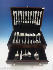 ROSE POINT BY WALLACE STERLING SILVER FLATWARE SET FOR 12 SERVICE 65 PIECES
