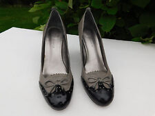 ENZO ANGIOLINI LADIES GRAY WITH BLACK LEATHER WING-TIP HEELS SIZE 8.5 M