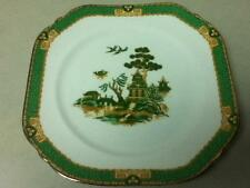 Vintage, England Green Gaudy-Blue Willow, 6.5in Square Dish or Dessert Plate