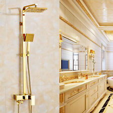 "Gold Bathroom Square 8"" Rainfall Shower Faucet Set Tub Mixer Tap with Hand Spray"