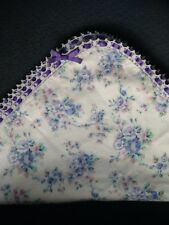 Vintage Floral Baby Blanket Purple with Crochet Trim Ribbon Shabby Cottage Chic