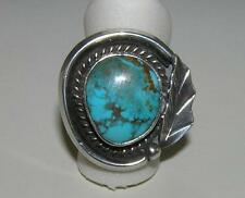Native American Turquoise Ring with Leaf and Roping Sterling Silver Size 6