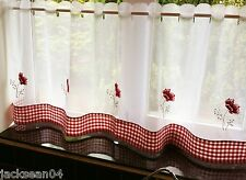 "POPPY GINGHAM  RESTAURANT KITCHEN CAFE EMBROIDERED CURTAIN DRAPE PANEL 60"" X 24"""