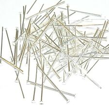 "M671f Silver-Plated Brass 21 Gauge 1"" Flat Headpin Jewlery Component 100/pkg"