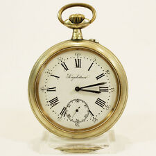 REGULATEUR GOLIATH LEPINE TASCHENUHR NICKEL PLATED XL POCKET WATCH FRAINIER FILS