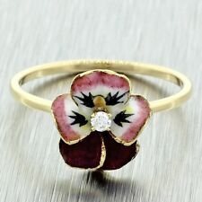 Antique Art Deco Art Nouveau 14k Yellow Gold Diamond Enamel Pansy Flower Ring