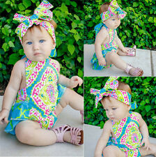 Newborn Kids Baby Girl Infant Romper+Headband Jumpsuit Bodysuit Clothes Outfit
