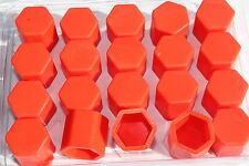 20 x Silicone Wheel Screws Nuts Caps Bolts Covers 17mm VW GOLF PASSAT POLO.. RED