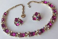 VINTAGE LISNER SIGNED PINK & BOREALIS RHINESTONE NECKLACE AND EARRINGS