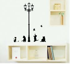 Large Cat Lamp Post Wall Stickers Decals DIY Kids Mural Wallpaper Home Art Decor