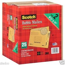 "New 25 Pack Size 2 3M Scotch Bubble Mailers 8.5"" x 11"" Padded Mailing Envelopes"