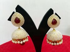 Bollywood Fashion Gold White Jewelry Indian Pearl Earrings Jhumka Jhumki Set