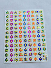 100 Assorted Colors Mini Holographic Flower Stickers, Kid project, Envelope Seal