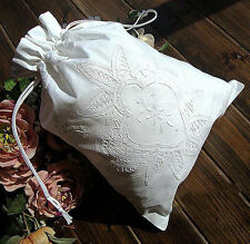 Elegant Hand Batten Lace Flower Embroidery White Cotton Storage Bag