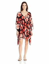 Calvin Klein  V-Neck Orchid Chiffon Caftan Cover Up with Packable Pouch, L/XL