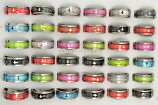 Wholesale 20Pcs English Cross Christian Prayer Resin Stainless Steel Rings FREE