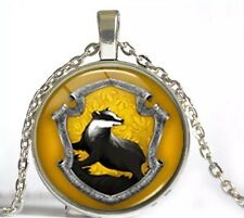 Harry Potter Hufflepuff Badger Emblem Cabochon Necklace Pendant US Seller